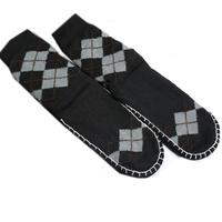 Fashion Men rhombus thermal yarn slip-resistant floor socks towel men's socks footwear set