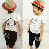 2013 summer cartoon head portrait boys clothing girls clothing baby casual set tz-0382 (CC019)