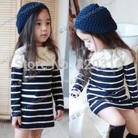 Free shipping, Girls Long sleeve T-shirt, White stripe  fashion stripe  baby long-sleeve dress qz-0185 (CC019NQZ0185)