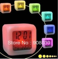free shipping lowest  price best quality  Creative lovely luminous mute colorful alarm clock cartoon LED electronic clock