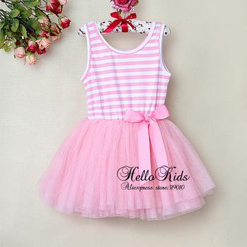 2014 Fashion Children Baby Party  Dress Pink Striped Infant Tutu Dress Chiffon Cotton Baby Girl Pricess Dresses GD30105-14^^HK