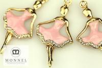 H181b DIY 3pcs Bridal Wedding Gold Tone Crystal Pink Dress Ballerina Pendant Charm