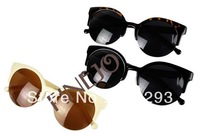 Free Shipping Fashion Unisex Retro Designer Round Cat Eye Semi-Rimless Sunglasses Glasses 5635