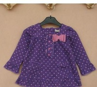 free shipping kids girlsclothes purple dot bowknot long sleeve t-shirt 100% COTTON  sweet girls