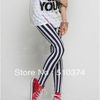 New Fashion knitting LG-030 Korean Design Women Sexy Black & White Zebra Vertical Stripes Tights Leggings Trousers FREE SHIPPING