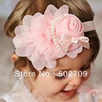Quality chiffon rosette flower fashion baby girls headband,2013 new arrival