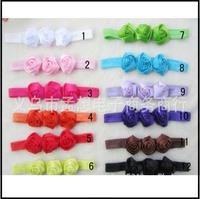 26 pcs/lot Mini Satin Ribbon Roses Flowers Headbands Baby rosettes shimmery soft stretchy satin elastic Elastic Headbands