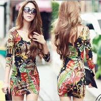 free shipping 2012 new fashion women's double V-neck sexy cotton dress, flowers print casual dress, dresses