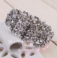 Wedding/Bridal Jewelry,retro Antique Silver  Bangle Bracelet ,Free Shipping/Wholesale Vintage Crystal Rhinestone Bangle
