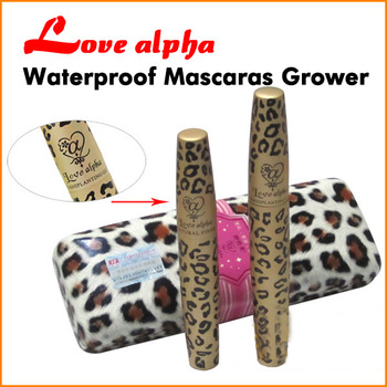 Double Waterproof Masaca LOVE ALPHA Leopard Case 1 Set=2 PCS Transplanting Gel,Fiber Mascara Set  (Black)
