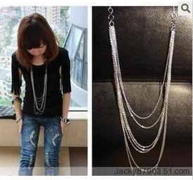 hot selling 2014 wholesale Europe style major suit fan mashup jewelry wholesale multilayer long Tassel Necklace