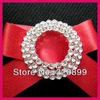 100pcs/lot 50mm Circle with 3 Rows  Rhinestone Wedding Brooch Pins,Round Crystal Bridal Rinestoen Brooch ,Bonquet Pins