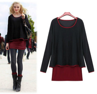 Big Sale Autumn fashion O-neck long-sleeve fake two-pieces patchwork  black/wine red women dresses plus size XL,XXL,XXXL