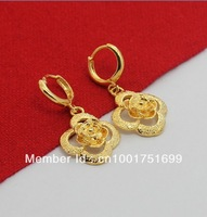 24KE-007  Free Shipping Fashion 24K Yellow Gold Plated Rose Dangle Earrings, Greatbuy21 Mixed Order, Wholesale & Retail