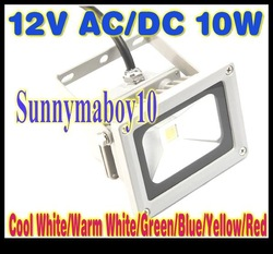12V AC/DC 10W Warm White LED Flood Light High Power Waterproof Outdoor 12V Lights IP65 red blue green yellow LW2(China (Mainland))