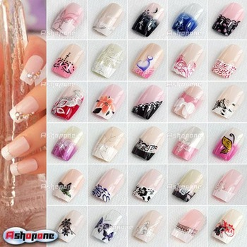 24Pcs Pre Designed French Acrylic False Nail Full Cover Tips Free Nail Glue