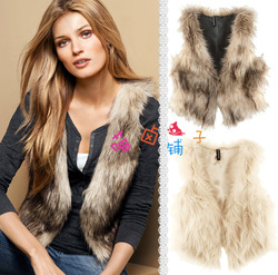 Free Shipping Faux Fur Vest Woman Colthing Popular Women Long Faux Fur Waistcoat Fashion Lady Brown Vest+Belt(China (Mainland))
