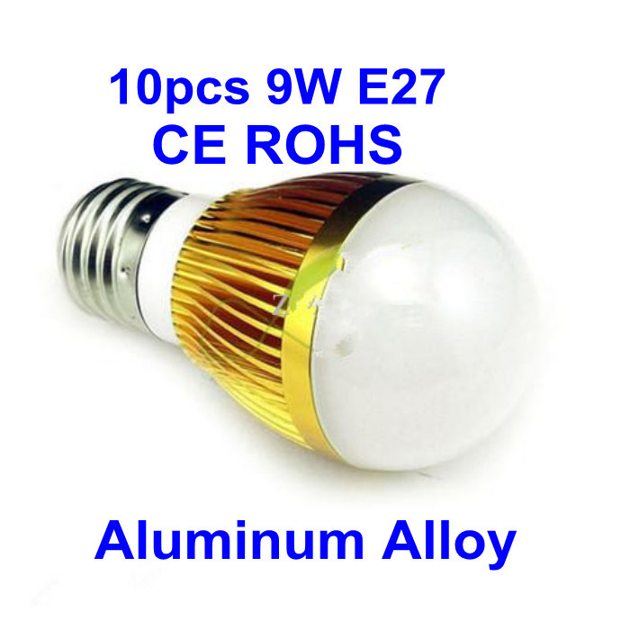 Hot selling Good Quality Low Price 100000hours High Power Golden E27 9W 110-240V LED Bulb LED downlight 3pcs Round Cree Chip(China (Mainland))