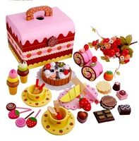 Free Shipping Christmas Halloween Mother Garden Strawberry Wooden Toy - Sweet Princess Chocolate Cake Afternoon Tea