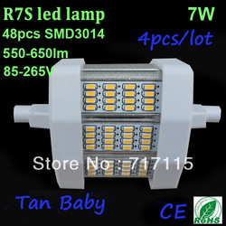 Free shipping 4pcs/lot SMD3014 led bulb R7S led lighting 7W white 85-265V 48leds 78mm replace helogen led flood light ROHS CE(China (Mainland))