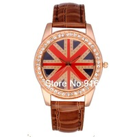 UK Flag Fashion PU Leather Quartz Watch with Diamond for Girls Brown