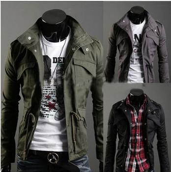 NEW Men's Military Slim Line Jacket Coat Rider Zip Button Hoody Black Grey Green