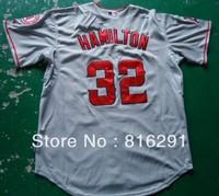 Hot Baseball Jersey  32 Josh Hamilton #32 grey gray color third  jerseys