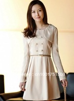 Korean Women 2013 spring and fall fashion round neck long-sleeved dress was thin Free shipping