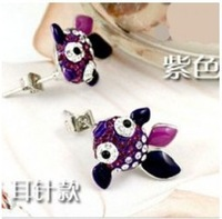$ 10 wholesale fashion exquisite red diamond full diamond purple lovely diamond earrings Goldfish -006-8
