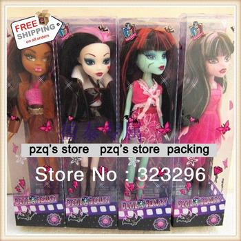Free Shipping, 4pcs/set Fashion toy dolls Monster High Dolls cartoon plastic DEVIL Beauty doll gift for girls toys