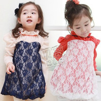 2013 spring aesthetic lace paragraph girls clothing baby involucres long-sleeve dress qz-0316