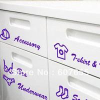 free shipping Drawer Tags Sticker Accessory Underwear Socks T-shirt &Wear Viynl Closet Cling Shoe Cabinet   black purple