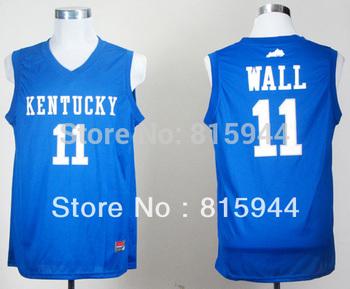 College Kentucky Wildcats #11 John Wall blue basketball ncaa jerseys mix order free shipping