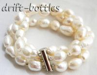 3Strands 8'' 9MM White Baroque Freshwater Pearl Bracelet