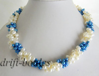 19''3strands white blue baroque freshwater pearl necklace