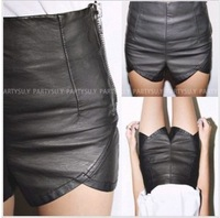 New PU leather side zipper Slim package hip hot pants to irregular high waist shorts leather pants free shipping