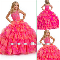 JF0063 Plain Organza Pink And Yellow Mix Color Victorian Girls Dress
