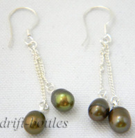 1.8'' 6mm green rice freshwater pearl dangle earring