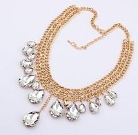 Hot Sale Women Fashion Golden Chain Jewelry White Acrylic Water Drop Bib Pendant Necklace Wholesale Jewelry Free Shipping #94431