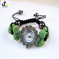 Free shipping.wholesale pave crystal rhinestone Oval with clay 8beads shamballa wrist watch Bracelet.jewelry.APPLE GREEN WB0025