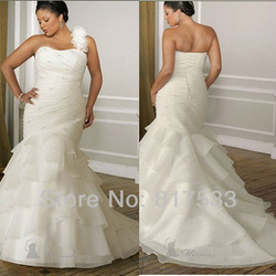 fashion 2013 wedding dress girl feminine lace dresses decoration on the one shoulder ruched flower long floor length tiered(China (Mainland))