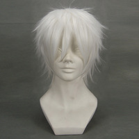 NO.6 White Short Shaggy Layered Synthetic Full Face Anime Costume Cosplay Wig,Party Hair.Free Shipping