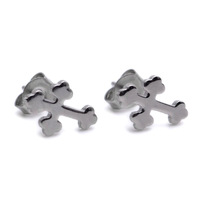 Min order $15,Can Mix Stainless Steel Plain Silver Cross Mens Studs Earrings E269