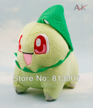 "Free Shipping  5pcs  Pokemon Plush Toy  chikorita  plush 5.5""  14cm Cute Soft Stuffed Animal Doll Kid Gift"