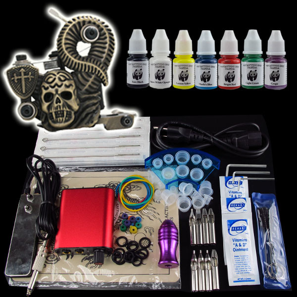 Wholesale Beginner 1 Gun Kit Pro Tattoo Machine Gun Power Supply Foot Pedal Needles Grip Tip Ink M1322