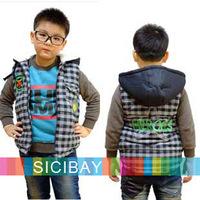 Chic Kids Plaid Overcoat Boys Stylish Winter Vests,Free Shipping  K0252