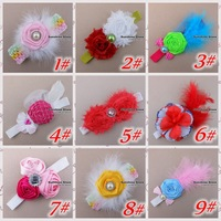 Товары на заказ Sunshine store #2B1987 10pcs/lotbaby headband beige black white hot pink purple peacock feather headband diamond CPAM