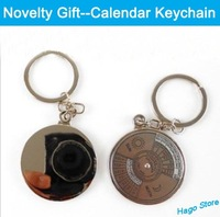 Free Shipping Alloy Keychain Novelty Gift Calendar Key Chains Dial Rotation Check The Corresponding Date