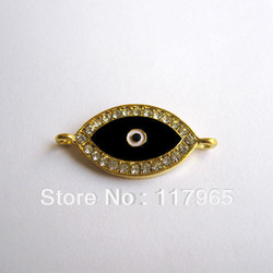 Min order $12 (Mixed order) 10 pcs HOT Evil Eye Black Crystal Gold-plated Connectors beads for Shamballa Bracelet(China (Mainland))