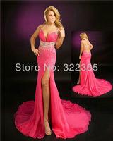 Free Shipping 2012 Hot Sale Sheath Sexy Elegant Straight Spaghetti Strap Chiffon with Beading Chapel Train Prom Dress 20120734